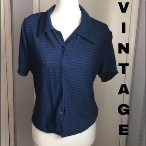 Vintage textured knit button up shirt